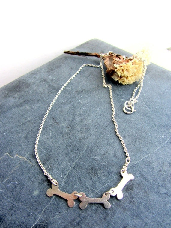 Animal bone sterling silver necklace, Halloween jewelry, skull, skeleton, bones