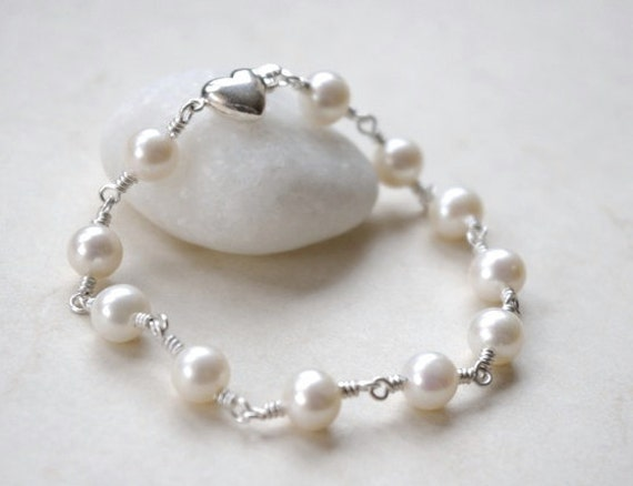 Bridal Freshwater Pearl Bracelet, Sterling Silver Beaded Bracelet, Ocean Nautical Wedding Inspired Statement Bracelet, Mother's Day Gifts