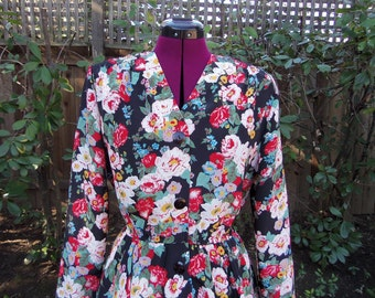 CLEARANCE Peplum Dress 1980s Peplum Dress 80s Peplum Dress Floral Peplum Dress Peplum Waist Dress Vintage Peplum Dress Secretary Dress