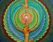 Isis magic Wings Egyptian Goddess spiritual Art mandala print of painting