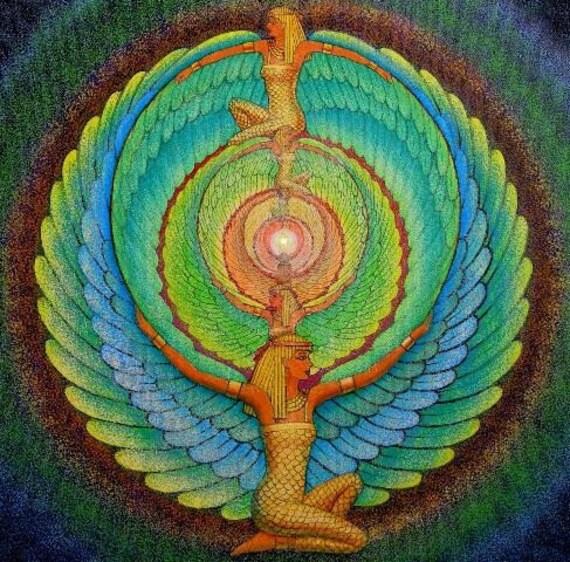 ISIS magic Wings Egyptian Goddess spiritual mandala Art poster print of painting by Sue Halstenberg