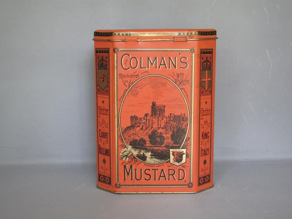 Vintage Lithograph British Tin / Colman's Mustard Large Tin Box, Bull's Head, Turn of the Century Orange Gold and Black Litho Tin Container