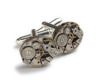 Steampunk Cufflinks Steampunk Jewelry Vintage Bulova watch movements gears Wedding Anniversary Groom Gift silver cuff links men jewelry