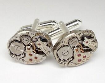 Steampunk Cufflinks Vintage Wittnauer Watch Cuff Links, Wedding Anniversary Gift Grooms Formal Wear Silver Cuff Links Men Jewelry 2988