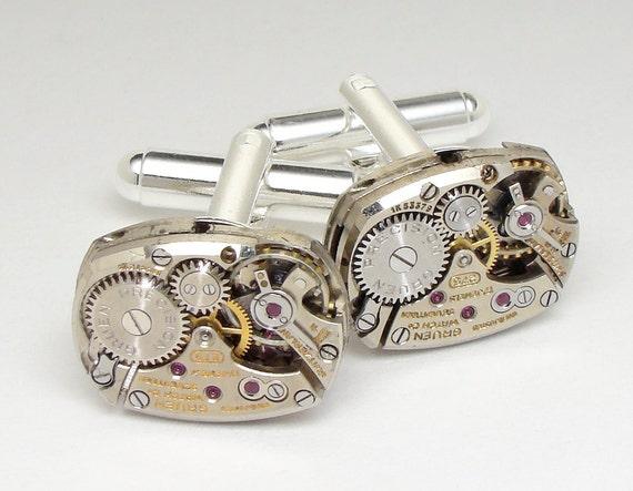 Steampunk cufflinks antique Gruen rare watch movements gears wedding anniversary silver cuff links mens jewelry by Steampunk Nation 1783