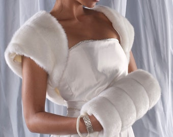 Faux Fur Bolero Jacket  Style C and Muff set Winter Wedding shrug and regular size handwarmer Available in variety of faux furs