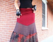SALE - Skirt - Steampunk - Under Bust - Long Dress - Bohemian Gypsy - Red - Burlesque - Holiday Wear - Ruffle - Sexy - Size X- Small