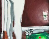 JEREMY WORST Dubstep Kitty Original Original Painting heineken sexy woman pose fashion leggings heels