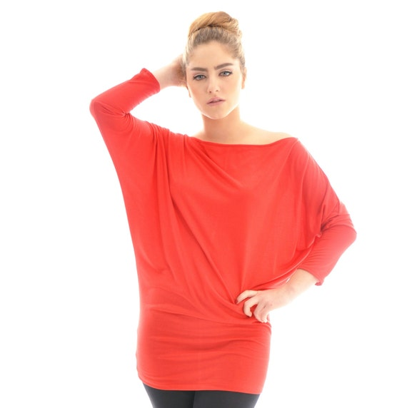 Long sleeve top ON SALE/ Oversize Cotton Red tunic top/ Maternity top/ Plus size top/ Cotton top/ Red top