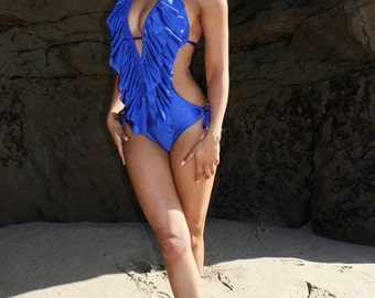 Low cut ruffle monokini MORE COLORS