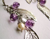 Fantasy world - metal leaves violet shadows and antique white beads long earrings