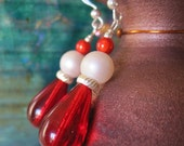 Ruby Teardrop Earrings - FREE Shipping - One-of-a-Kind w Vintage Glass & Velvet Pearls, Miracle Beads, and Sterling Silver Ear Wires