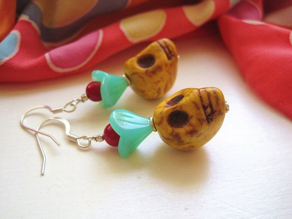 Lily Skull Earrings - One-of-a-Kind w Yellow Carved Stone Skulls, Aqua Czech Glass Flowers, Red Coral Beads & Sterling Silver Ear Wires