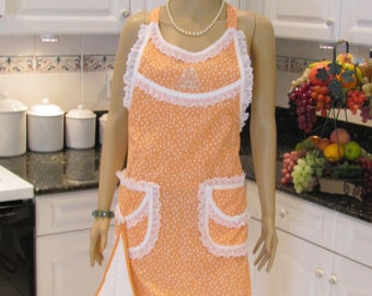 MODERN STYLE APRON : ,full apron, Perfect in peach polka dotted ,two pockets with hanging towel.