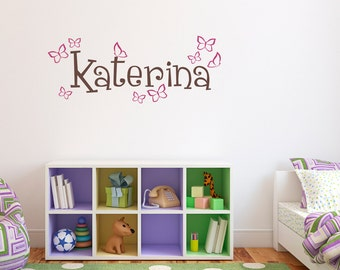Girls Name Decal with Butterflies - Personalized Name Wall Decal - Girl Wall Art