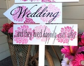 Wedding Directional Signs with arrows and beautiful peonies.  Unique, Spring or Summer Wedding Signs for your Special Day.