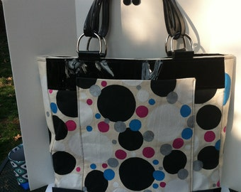 Tote large canvas hand painted and trimmed in black patent leather