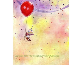 Birthday Greeting Card - Gnome Birthday Card - Funny Gnome Watercolor illustration Print