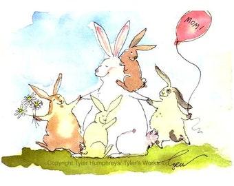 Mothers Day Card - Rabbit Bunny Art, Mom Family Funny Bunny Rabbit Greeting Card, Rabbit Watercolor Painting Illustration Print 'Bunny Mama'