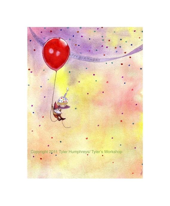 Birthday Greeting Card - Gnome Birthday Card - Funny Gnome Watercolor illustration Print