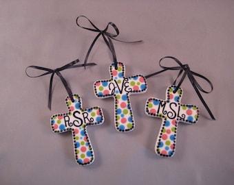 Custom Monogram Cross Ornaments