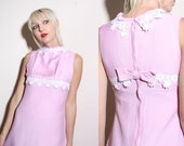 Vintage 60s Mod Pink  Mini Dress XS