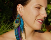 "Feather Ear Cuff - ""PEACOCK BEAUTY"" - Turquoise and Purple Feathers w Amethyst & Moonstone Beads."
