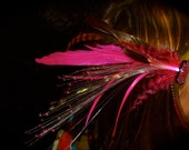 LIGHT UP Pink and Black Feather Hair Clip Fascinator - with Pink GLOWBY Fiberoptic Clip - Burning Man, Festival, Rave