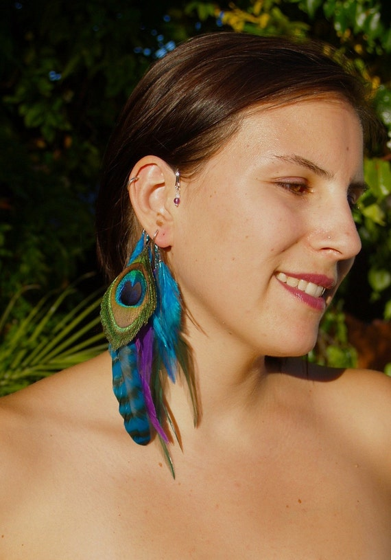"""Feather Ear Cuff - """"PEACOCK BEAUTY"""" - Turquoise and Purple Feathers w Amethyst & Moonstone Beads."""