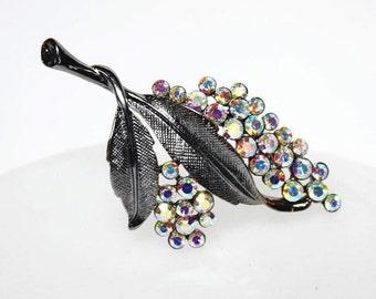 Vintage AB Crystal Rhinestone Brooch or Pendent w/35 Colorful Aurora Borealis Stones