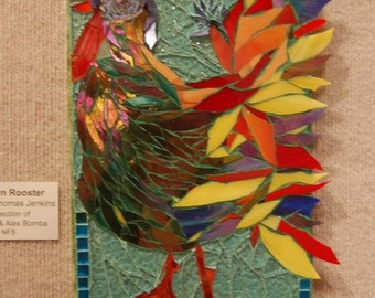 The Modern Rooster, Mixed Media Mosaic