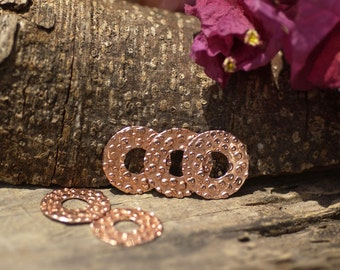 Copper Blank Donut Washer 15mm 24G Pebble Texture - Lampwork Beadcaps Possibly - 6 pieces