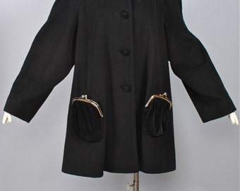 MOSCHINO CHEAP & CHIC Vintage Coat with attached Kisslock Purse Pocket Swing Jacket - Authentic -