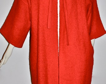 CACHAREL Vintage Red Wool Coat 3/4 Sleeve Open Front Neck Tie - AUTHENTIC -