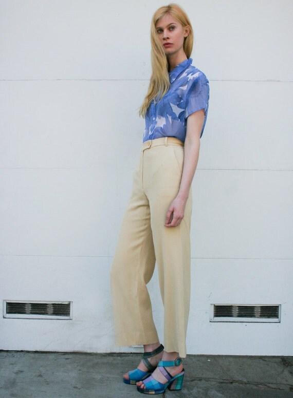 Vintage Tahari 1990's Buttercup Yellow High Waist Wide Leg Trousers S