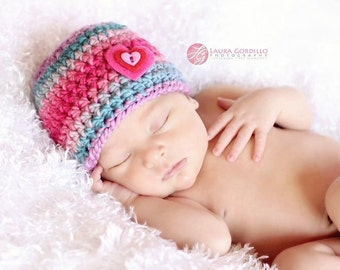 "Crochet Baby Girl ""Love Me"" Heart Beanie, Newborn, 0-3 Months, 3-6 Months, Handmade, Photo Prop, Valentine Hat, Shower Gift, Rainbow Baby"