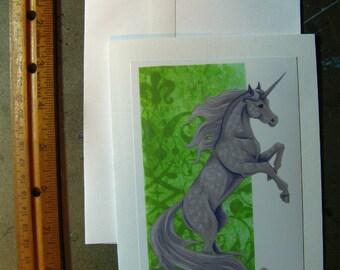 Dappled UNICORN CARD - Unicorns, Dapple Grey Fantasy Horse Cards 5 by 7 Art Print Notecard, Note