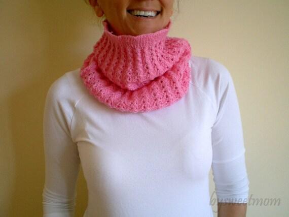 SALE % 25 off Women Loop Cowl Collar Neck warmer, Pink