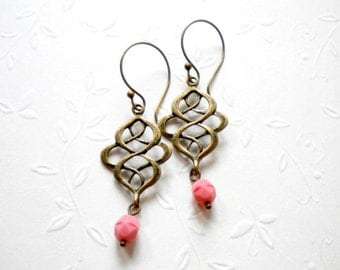 Pastel Pink Earrings Gift For Girlfriend Pink Chandelier Earrings Oriental Earrings Pink Bridesmaid Earrings Modern Dangle Earrings