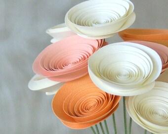 Peaches & Cream Paper Flowers in medium-size Paper Flowers