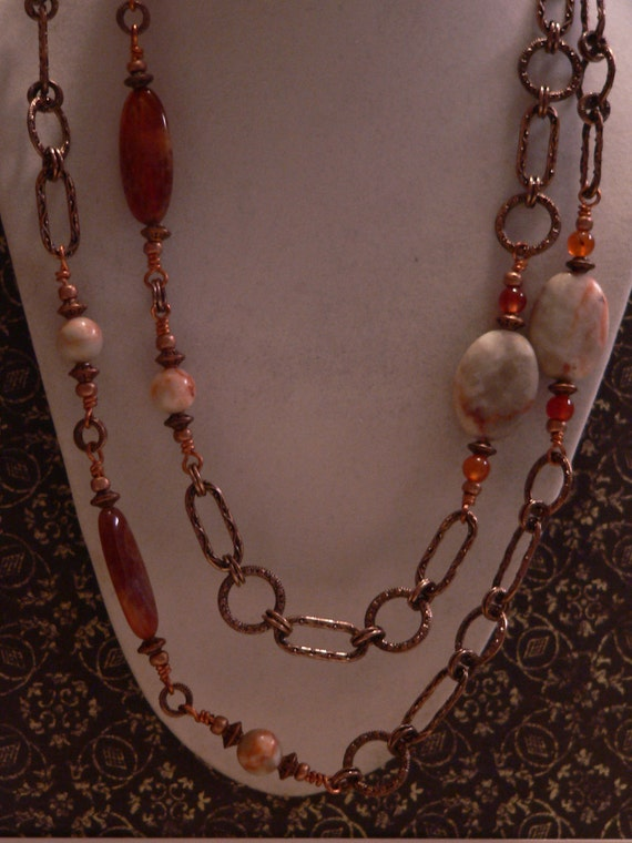 Long necklace, Red vein jasper, fire agate, carnelian and copper chain necklace