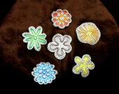 REDUCED! Handmade Retro Rainbow Pin Brooches Silver and Enamel - Set of 6 multicolour.