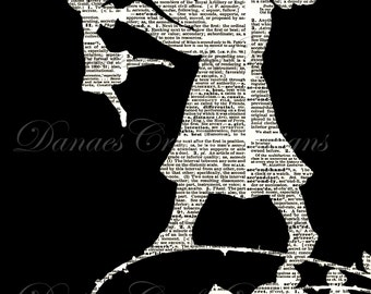 Vintage Child Silhouette Collage on Dictionary Print Background - Instant Digital Download - Bonus Sheet My Treat!