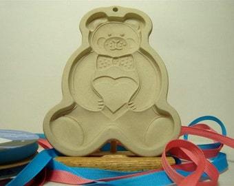 Teddy Bear Cookie Mold Bow Tie Cookies Clay Mold 1991 Pampered Chef