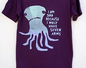Sad Seven-armed Octopus Mens T-shirt - hand printed t-shirt
