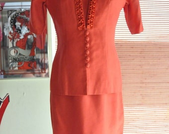 SALE 50's DRESS OrangeTwo Piece Suit  Mandarin Style with Ruffle Jacket