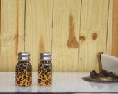 Leopard Print Salt and Pepper Shakers, Hand Painted Glass Salt & Pepper Shakers Leopard Safari Jungle by Lisa Hayward
