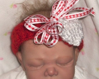 Adorable...Red and White..One of a Kind Headband....6  month Infant Girl.. Perfect  Gift...Photo's...Ready to Ship