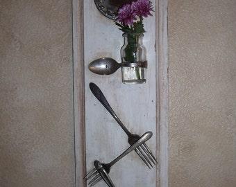 Silverware photo holder, memo board, vintage, silver plate. hooks, bottle / vase shabby chic