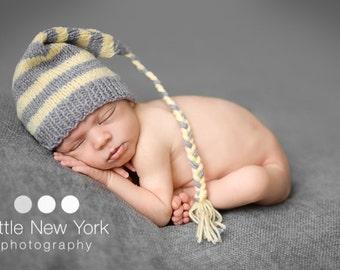 15%off SALE Newborn photo prop, newborn hat, newborn boy, newborn girl, knit newborn hat, newborn props, Grey yellow Newborn elf hat.
